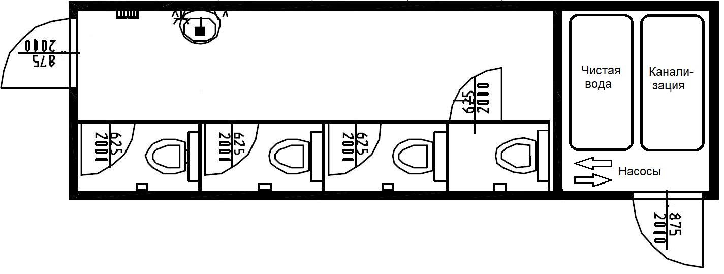 планировка туалет