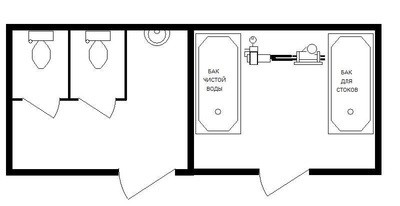 6м Туалет с максимальным периодом автономной работы 6000х2420х2590мм