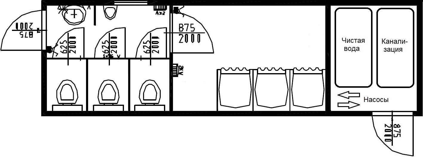 Планировка комбинированного модуля