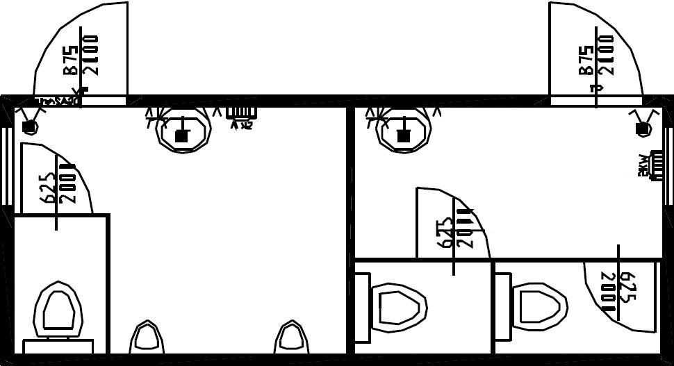 планировка туалета М+Ж