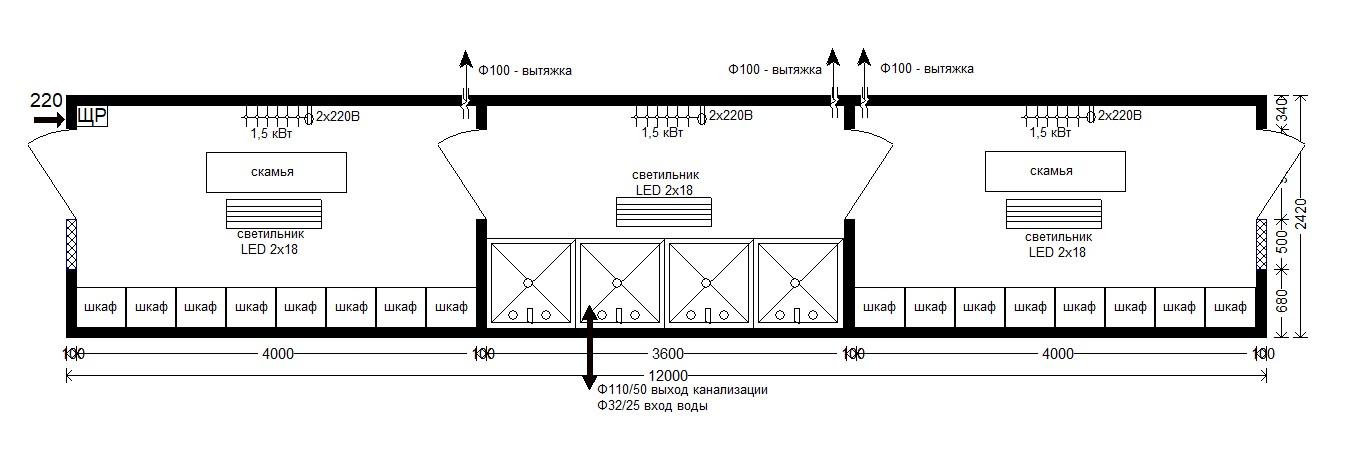 планировка санпропускника 12 м