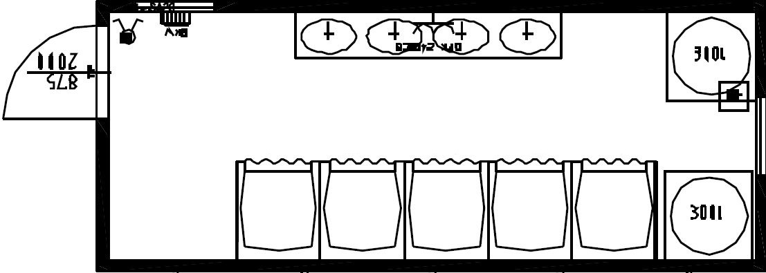 планировка антивандальной душевой с 5 кабинками