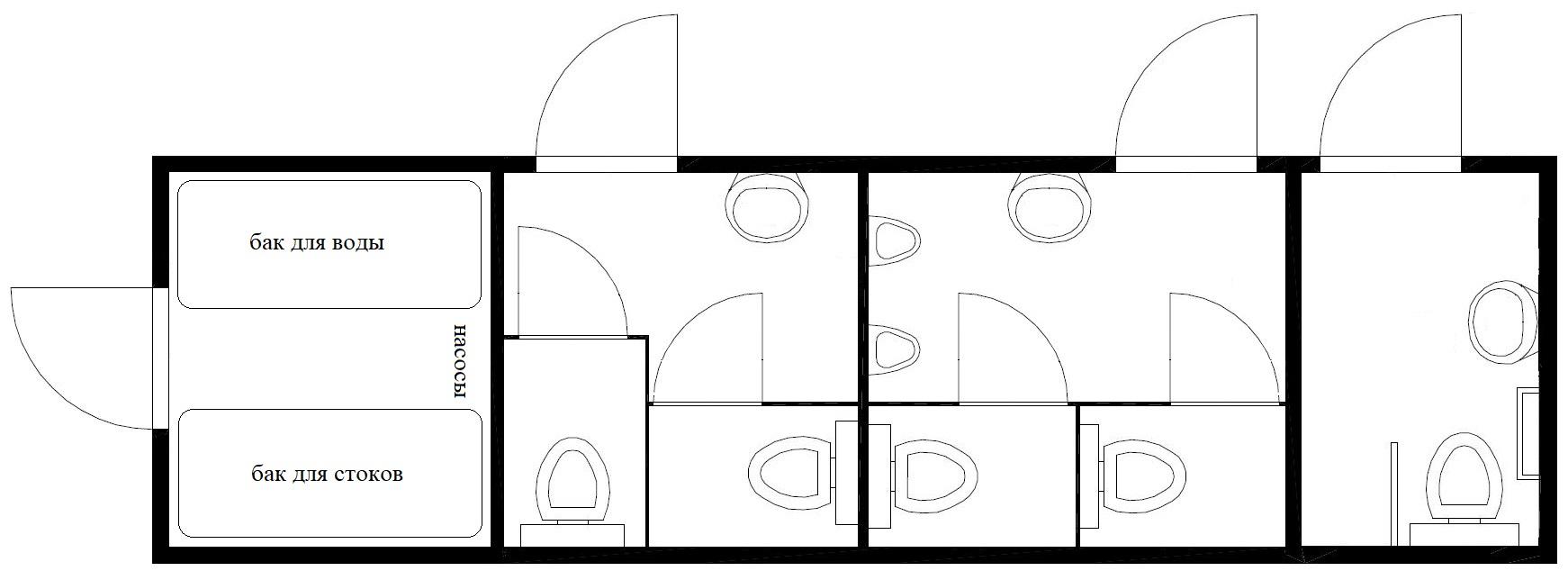 планировка модульного туалета 10метров 2м2ж+мгн автономный
