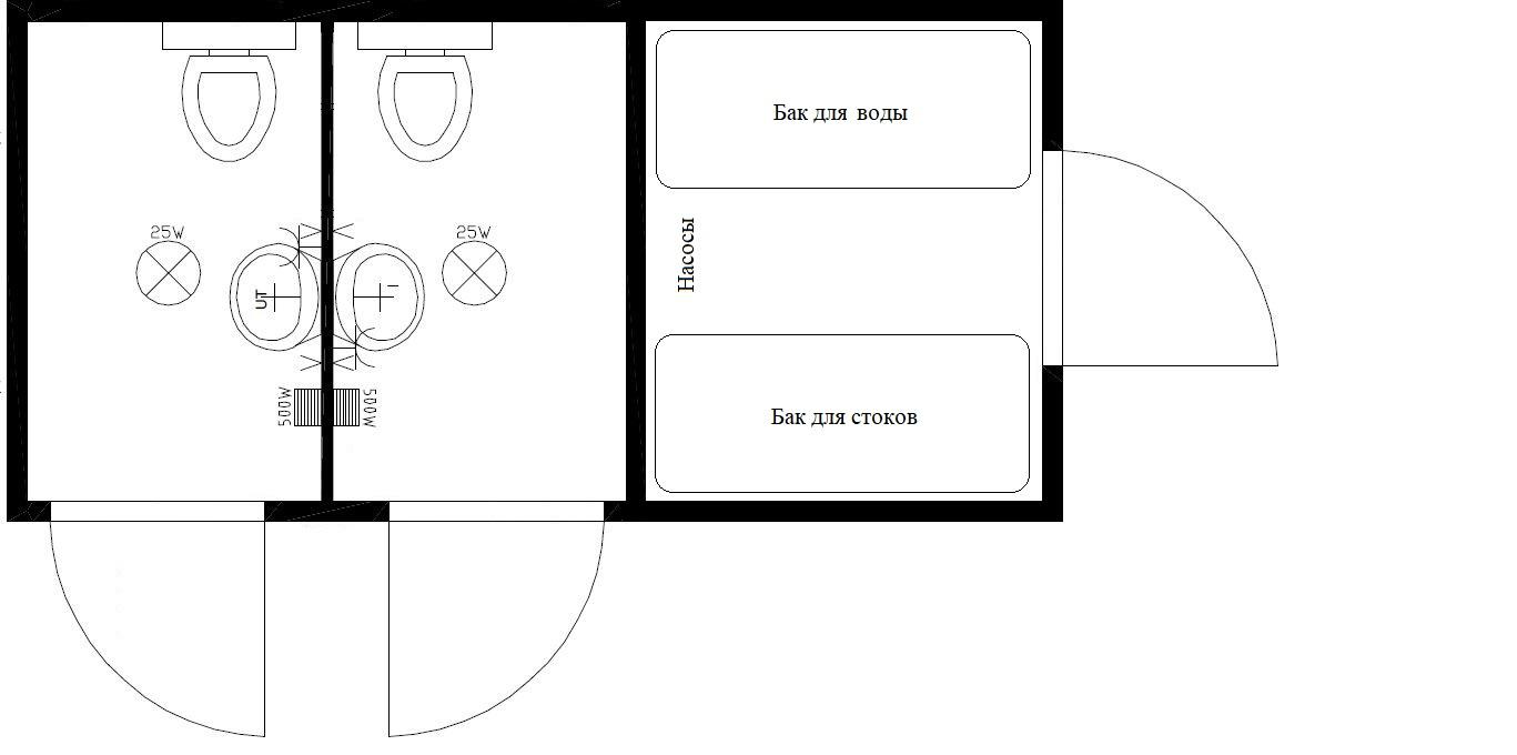 планировка туалета 6 метров м+ж автономный