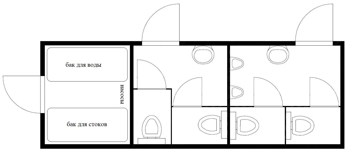 планировка туалета 8метров 2м2ж автономный